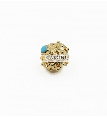 Bottone 2976 Oro Pietra Azzurra