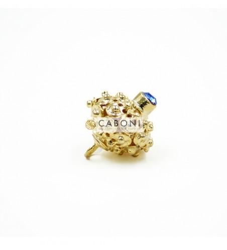 Bottone 2976 Oro con Pietra Blu