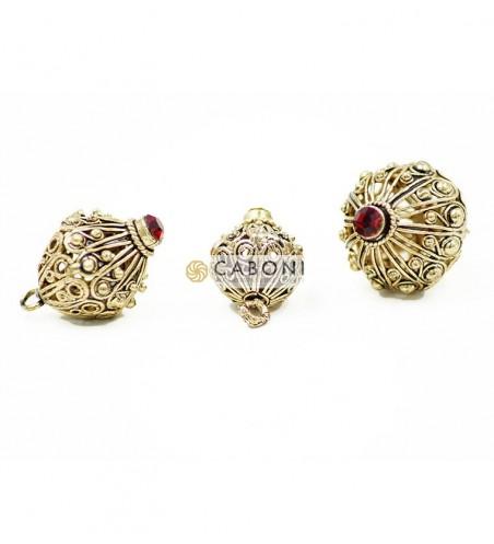 Bottone 21744 Oro Antico con Pietra Rossa