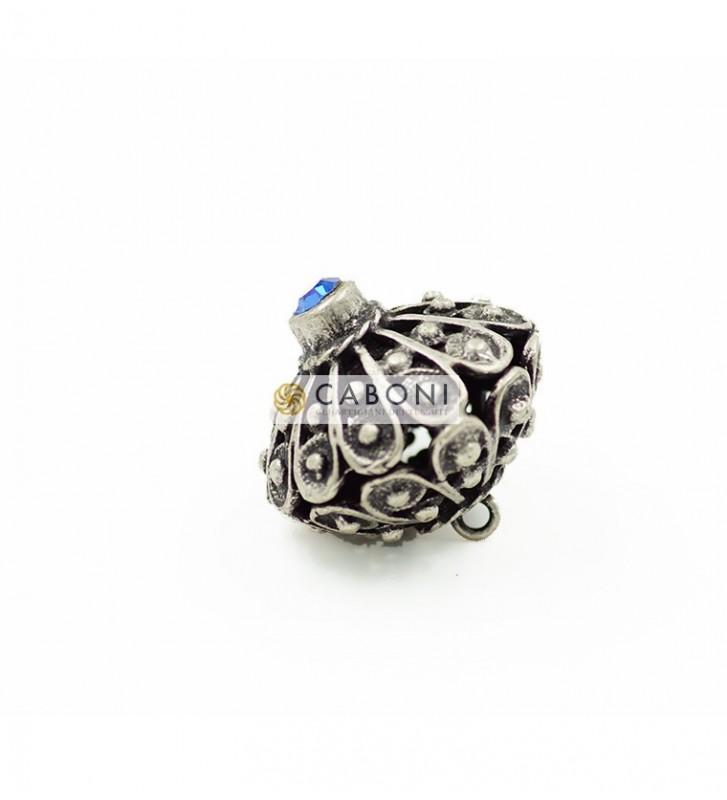 Bottone 2976 Argento Antico pietra Azzurra