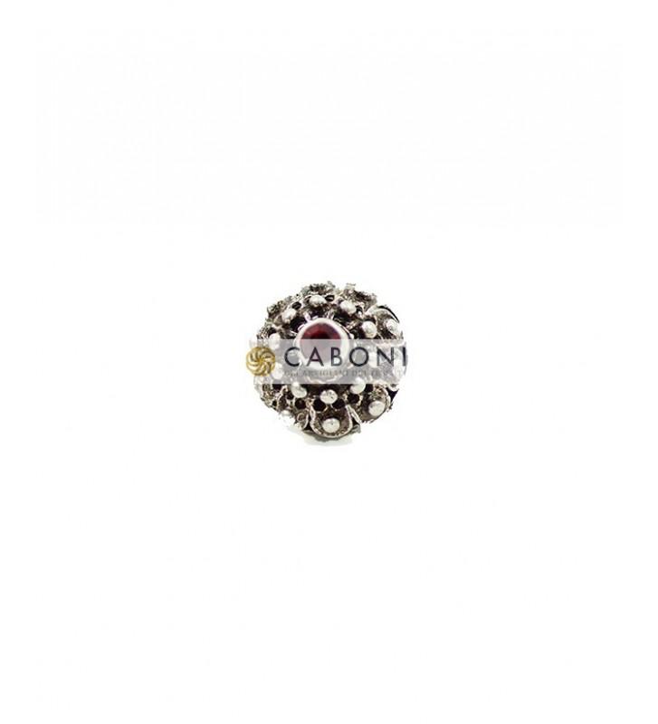 Bottone 2976 Argento Antico pietra Rossa
