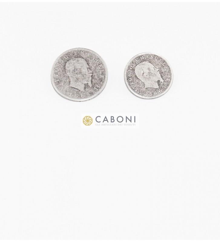 Bottone moneta Vitt. Emanuele II- Arg. Ant