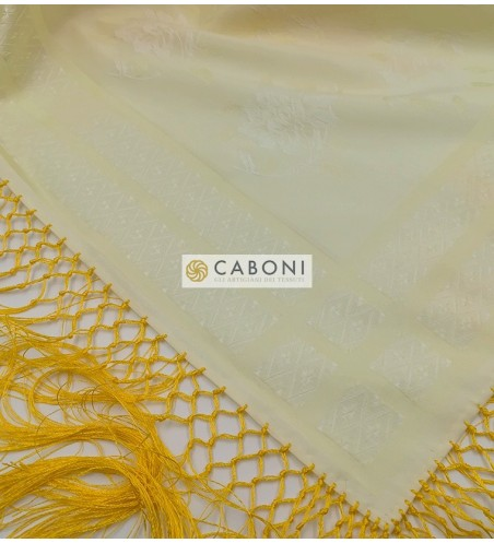 Fazzoletto 20110/B giallo paglierino con frangia
