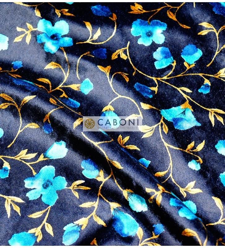 Vellutino floreale col. Blu foto2