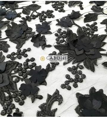 Pizzo su base tulle e fiori in rilievo - Col.Nero foto1