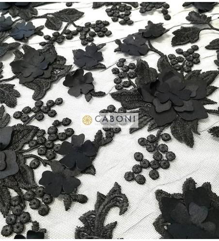 Pizzo su base tulle e fiori in rilievo - Col.Nero foto2