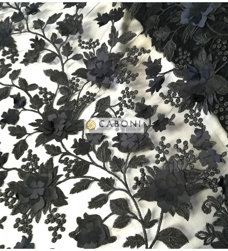Pizzo su base tulle e fiori in rilievo - Col.Nero foto3