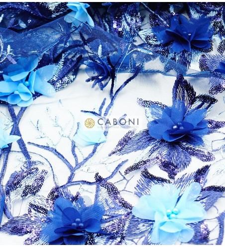 Pizzo su base tulle e fiori in rilievo - 89175- col.Blu