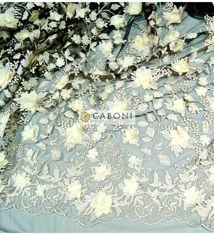 Pizzo fiori in rilievo 80683 Avorio/Nero 1