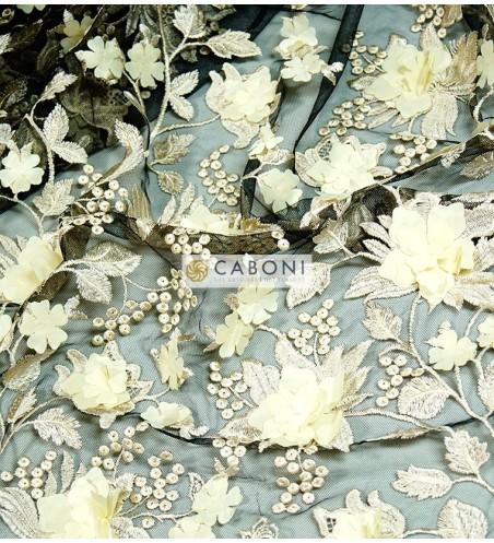 Pizzo fiori in rilievo 80683 Avorio/Nero