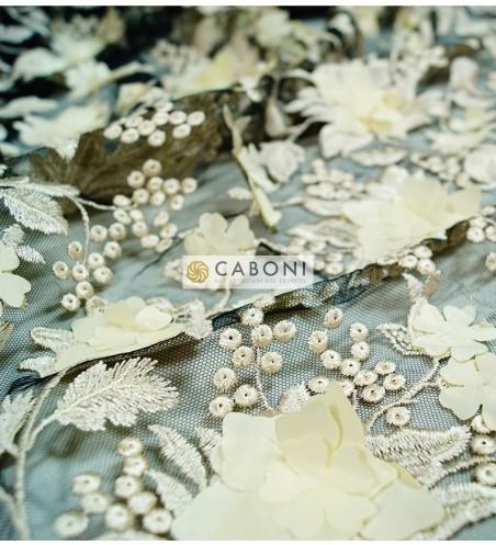 Pizzo fiori in rilievo 80683 Avorio/Nero3