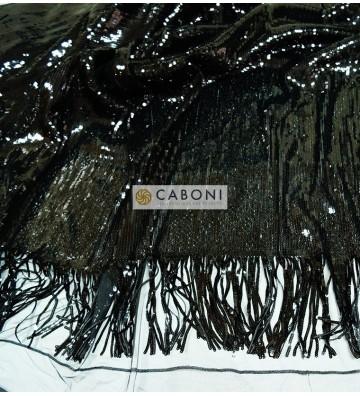 Tessuto Paillettes con frange col.nero 1