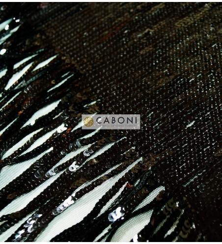 Tessuto Paillettes con frange col.nero 2