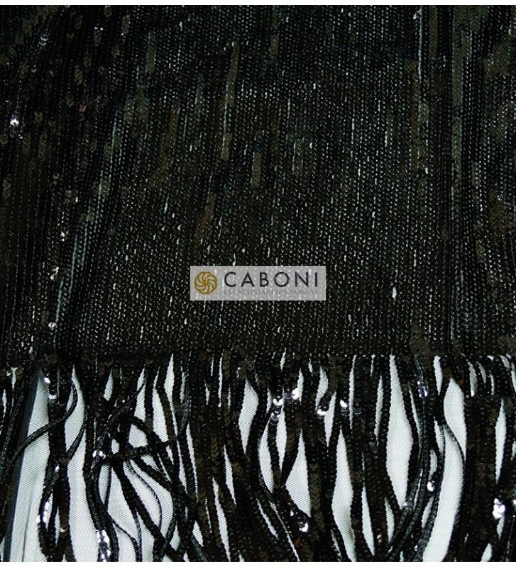 Tessuto Paillettes con frange col.nero 3