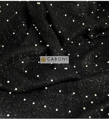 Tessuto trama Chanel nero con dettaglio perle 1
