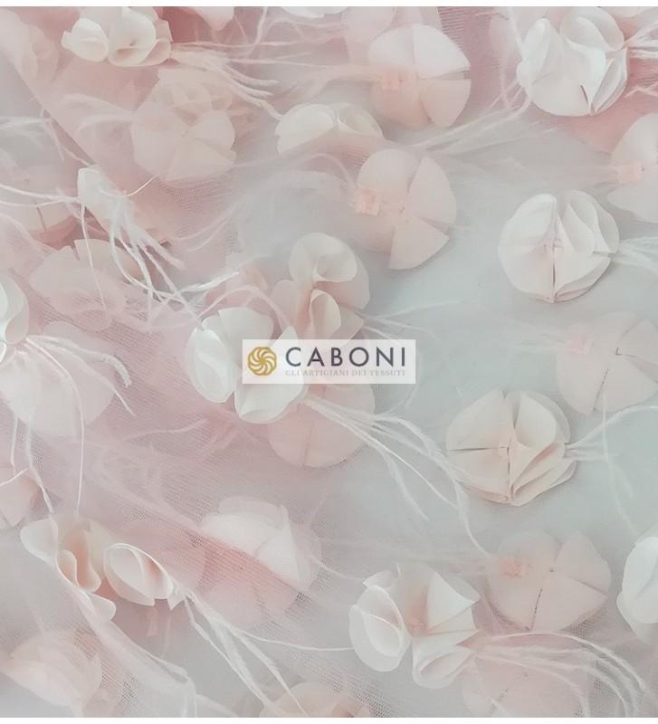 Tulle con applicazioni floreali - Cipria
