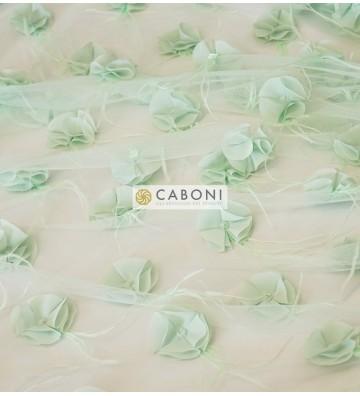Tulle con applicazioni floreali - Verde Pastello