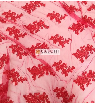 Pizzo Flor Rosso su base Rossa