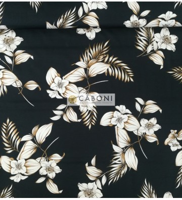 Tessuto Cotone Strech Black Flowers