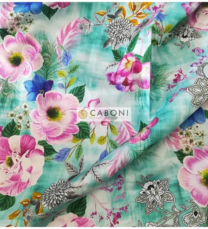 Tessuto 100% Cotone Stampa Flores foto dettaglio2