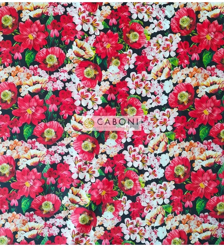 Tessuto 100% Cotone Stampa red flowers