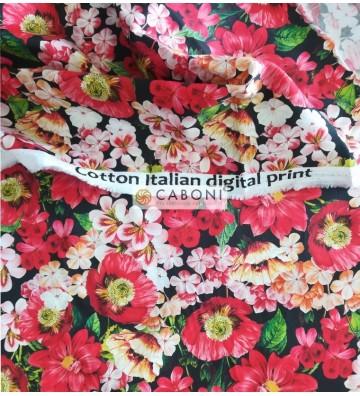 Tessuto 100% Cotone Stampa red flowers foto dettaglio