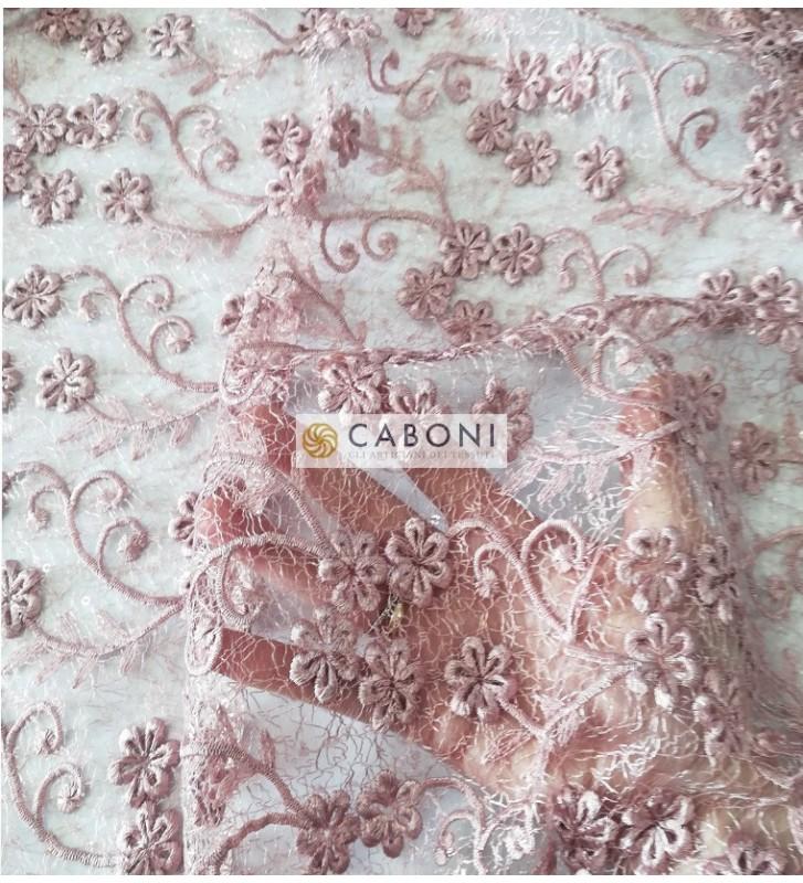 Pizzo con dettagli paillettes Eleonora - Variante Rosa foto dettaglio