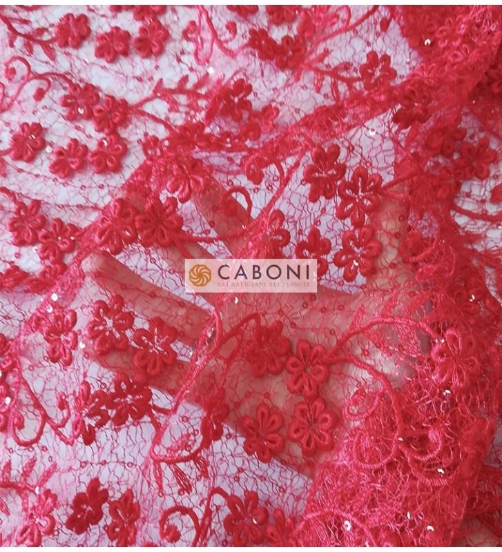 Pizzo con dettagli paillettes Eleonora - Variante Rossa