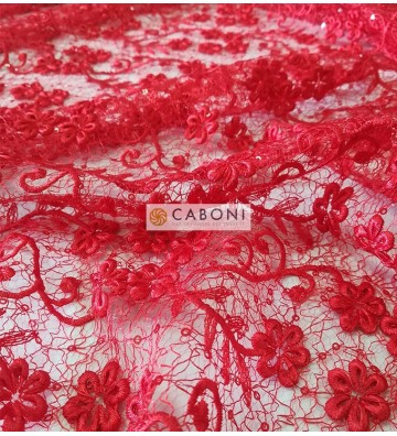 Pizzo con dettagli paillettes Eleonora - Variante Rossa foto dettaglio