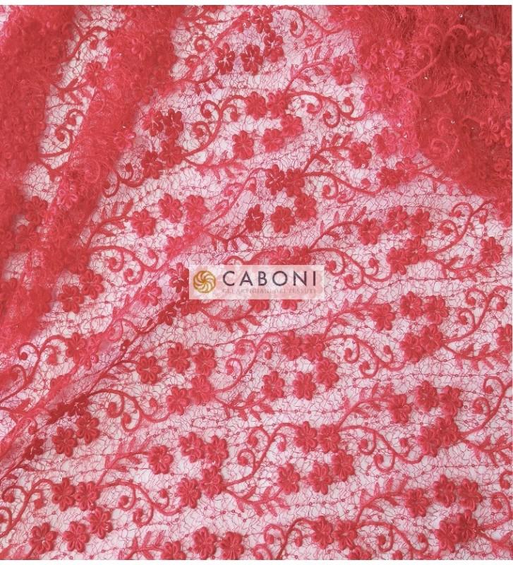 Pizzo con dettagli paillettes Eleonora - Variante Rossa foto dettaglio2