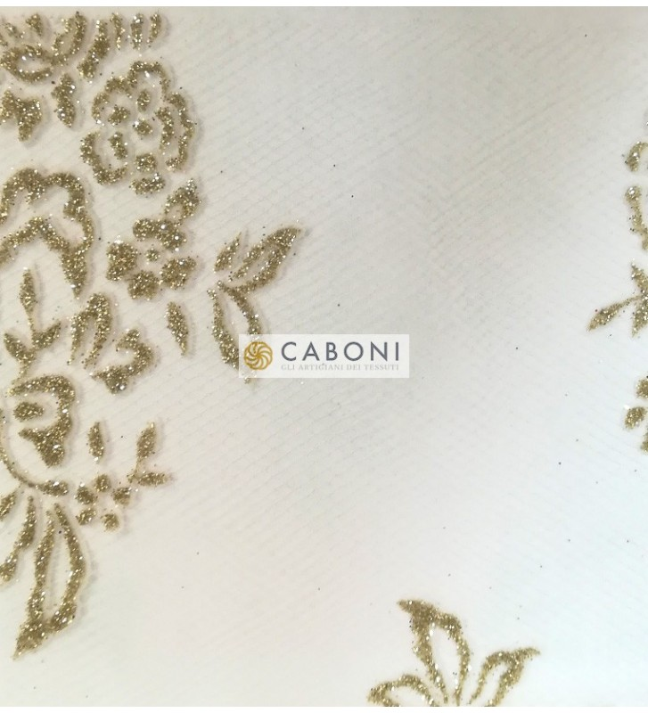 Tulle decorato 1214-66 Bianco/Oro