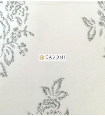 Tulle decorato 1214-66 Bianco/Silver