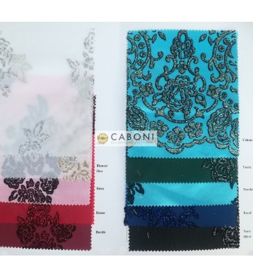 Tulle decorato 1214-66 Celeste