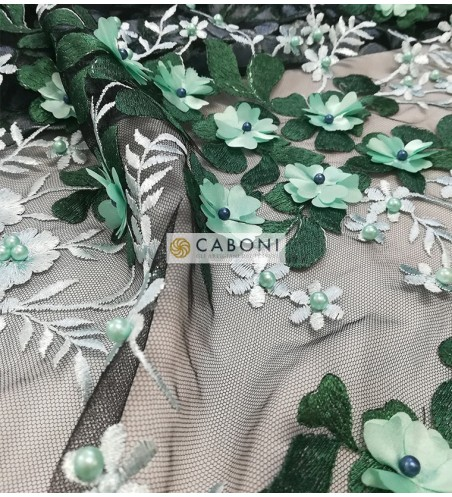 """Tulle ricamato """"Lisa"""" con fiori in rilievo - Verde"""