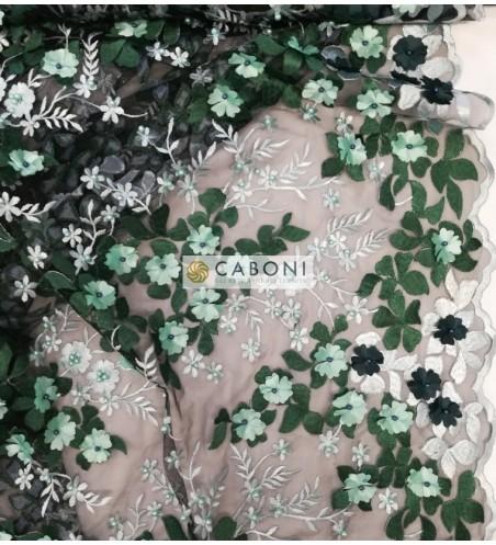 """Tulle ricamato """"Lisa"""" con fiori in rilievo - Verde DETTAGLIO"""