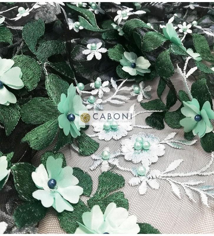 """Tulle ricamato """"Lisa"""" con fiori in rilievo - Verde DETAIL"""