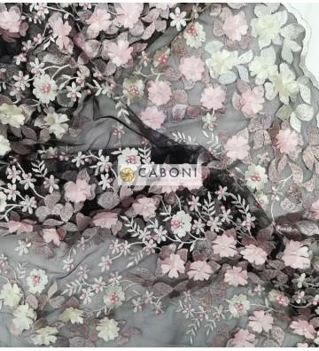 """Tulle ricamato """"Lisa"""" con fiori in rilievo - Rosa"""