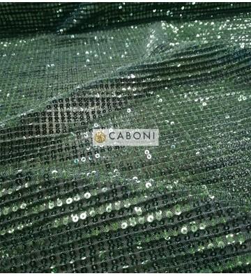Tessuto Paillettes Plissettato col.Verde smeraldo