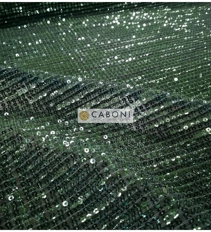 Tessuto Paillettes Plissettato col.Verde smeraldo dettaglio