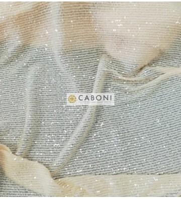 Tessuto Paillettes su base tulle bielastico col.Crema