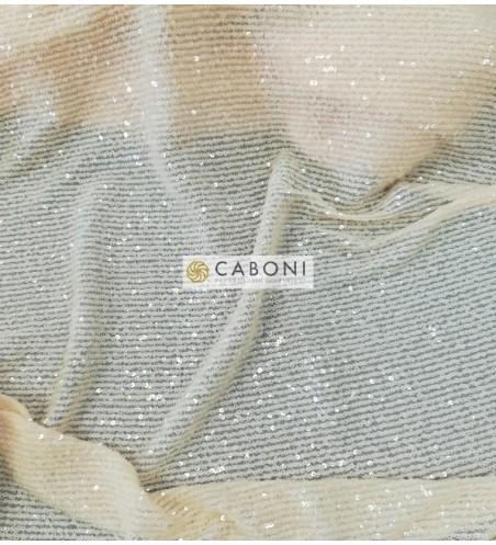 Tessuto Paillettes su base tulle bielastico col.Crema DETTAGLIO