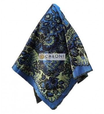Scialle 100% Seta Tre Colori 20143/B col. Blu DETTAGLIO
