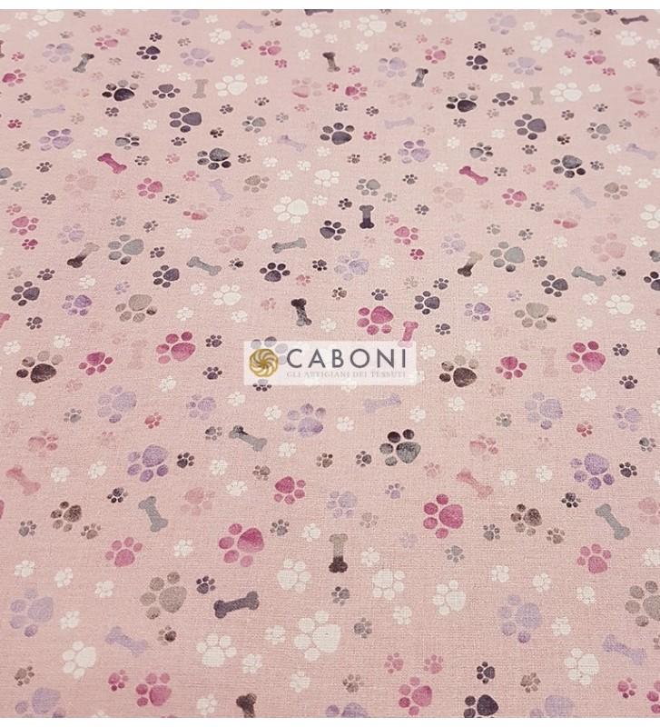 Tessuto 100% Cotone Bimbo - Osso Rosa 2