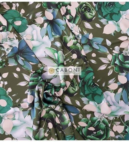 Tessuto Moda Stampa Digitale Prato fiorito Verde