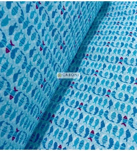 Tela Cotone Pesciolini Blu 1