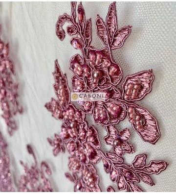Pizzo Alice Rebrodè Perle rosa scuro 3