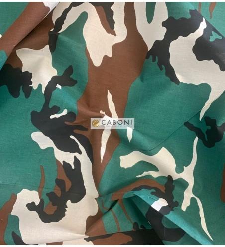 Tela Cotone Camouflage verde
