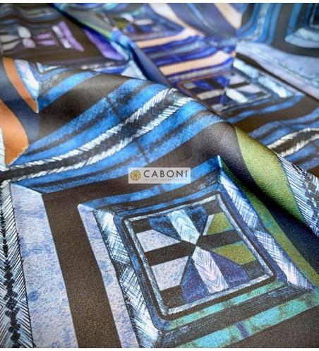 Tessuto satin elasticizzato quadri